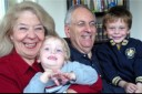 Rosy and Frank Jordan in a recent photo with two of their grandchildren – Kende, 2, and Miksa, 4, the author's sons. (Photo: mjj)